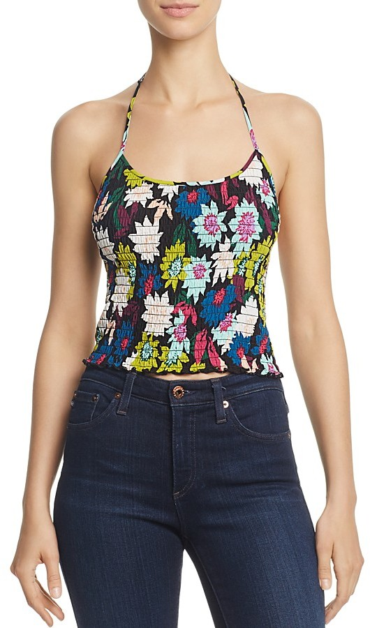 GUESS Poppy Smocked Floral Print Halter Top