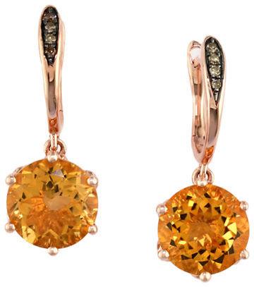 EFFY Apricot Rosé 14Kt. Rose Gold Citrine & Brown Diamond Earrings
