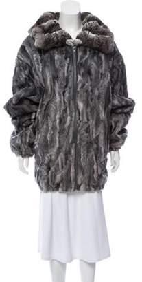 Fur Broadtail & Rex Rabbit Trim Jacket Grey Fur Broadtail & Rex Rabbit Trim Jacket