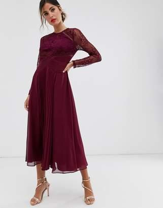 Asos Design DESIGN long sleeve lace paneled pleat midi dress