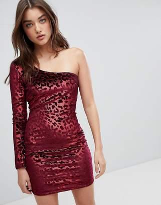 NaaNaa One Shoulder Bodycon Dress In Velvet Leopard