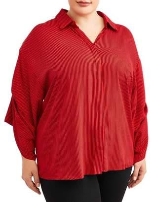 Miss Lili Women's Plus Size Micro Stripe Collared Shirt