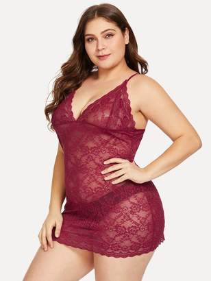 SheinShein Plus Floral Lace Slips With Thong