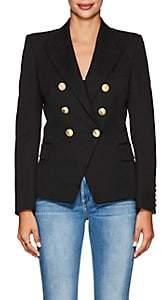 Women's Virgin Wool Double-Breasted Blazer - Black