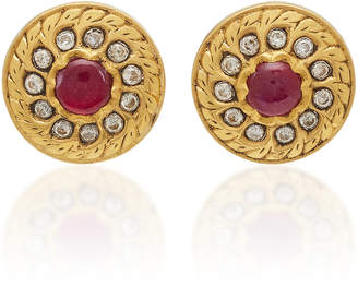 Amrapali 18K22K 24K Gold Ruby And Diamond Earrings