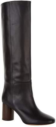 Sandro Leather Heeled Knee-High Boots 75