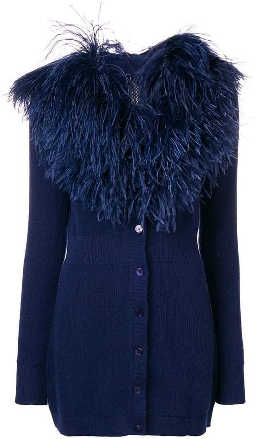 feather trim cardi-coat