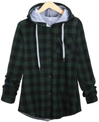 FashionRun Women Slim Long Plaid Hooded Cardigan Jacket