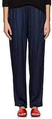 Raquel Allegra Women's Textured Satin Pleated Pants - Navy