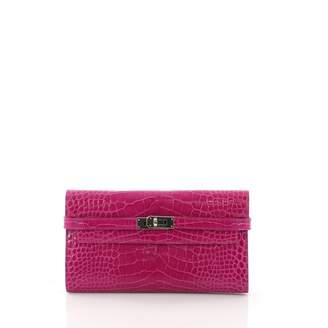 Hermes Kelly Purple Alligator Wallets