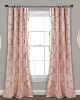 Triangle Home Fashion Avon Chenille Trellis Window Curtain Panels
