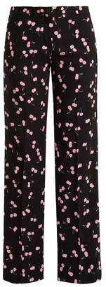 Miu Miu Cherry Print Mid Rise Wide Leg Trousers - Womens - Black Pink
