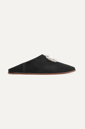 Roger Vivier Bab' Viv Crystal-embellished Collapsible-heel Suede Slippers - Black