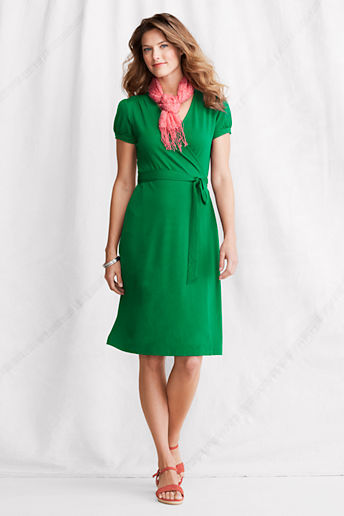 Lands' End Women's Regular Short Sleeve Cotton Modal Wrap Dress