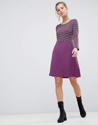 Traffic People Long Sleeve 2-in-1 Skater Dress With Stripped Top