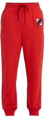 Burberry Logo Embroidered Cotton Track Pants - Mens - Red