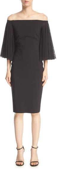 Chiara Boni Illusion Long-Sleeve Flared Jersey Jumpsuit