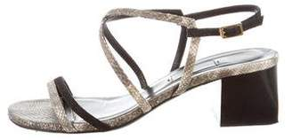 Lanvin Embossed Suede Sandals