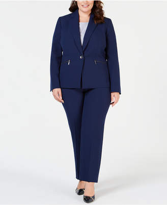 Le Suit Plus Size Zipper-Jacket Pantsuit