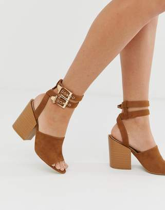cd33b3585be66 Raid RAID Orita tan buckle detail heeled sandals with stacked heel