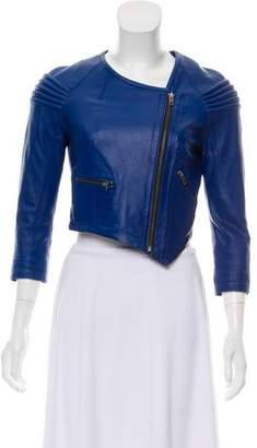Yigal Azrouel Cut25 by Lamb Leather Zip-Up Jacket