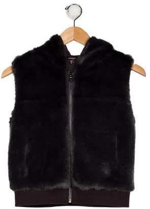 Imoga Girls' Hooded Faux Fur Vest