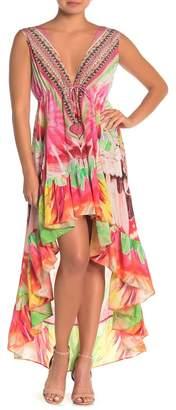 Shahida Parides Plunge V-Neck High/Low Maxi Dress