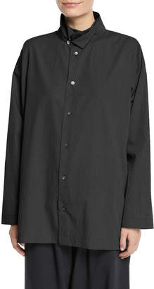 eskandar Micro-Check Double-Collar Button-Front Blouse, Black