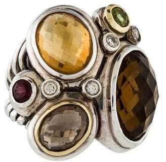 David Yurman Multistone & Diamond Mosaic Ring