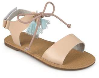 Brinley Co. Brinley Kids Little Girl Faux Leather Tasseled Flat Sandals