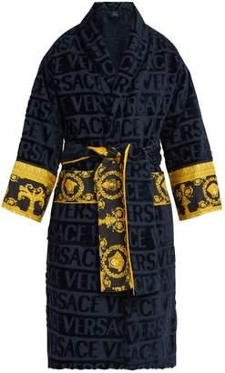 Versace Print Panelled Logo Jacquard Cotton Bathrobe - Mens - Navy