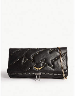 Zadig & Voltaire ZADIG&VOLTAIRE Rock ZV studded quilted leather clutch bag