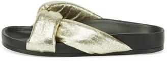 Chloé Leather Crisscross Slide Sandal, Gray Glitter