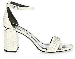 Alexander Wang Women's Abby Leather Snakeskin Ankle Strap Sandals