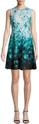 Gabby Skye Sleeveless Printed Scuba Fit--Flare Dress