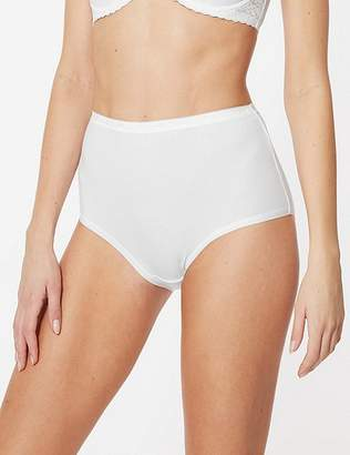 Marks and Spencer Cotton Rich Jacquard Waist High Rise Full Briefs