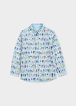 Paul Smith Boys' 2-6 Years Sky Blue 'People' Print Shirt