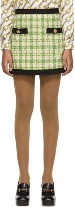 Gucci Green and Off-White Tweed Miniskirt
