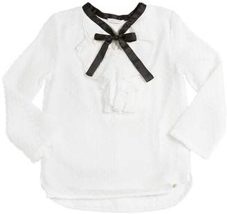 Polka Dots Flocked Mesh & Jersey Shirt