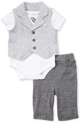 Miniclasix (Newborn Boys) 3-Piece Knit Vest & Pants Set