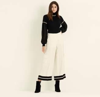 Amanda Wakeley Black Cashmere Top with Chiffon Sleeve