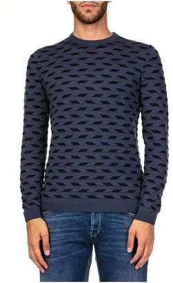 Emporio Armani Tubetti Blu Wool Blend Sweater