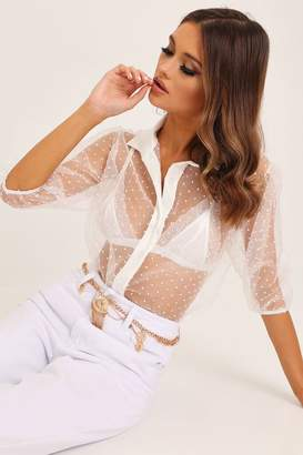 I SAW IT FIRST White Dobby Mesh Blouse