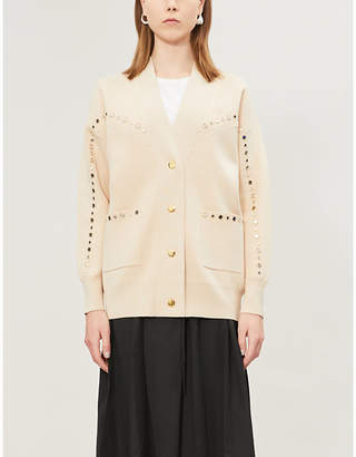 Sandro Mirrored stud-embellished knitted cardigan