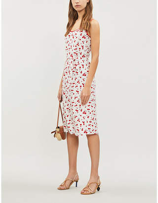 HVN Susan cotton-blend slip dress
