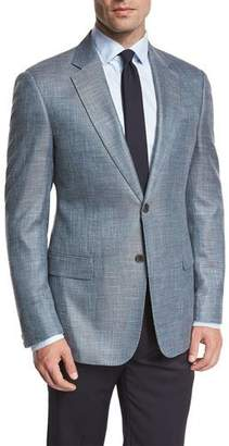 Armani Collezioni Textured Two-Button Sport Coat, Teal