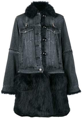 Sacai furry denim coat