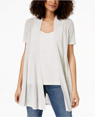 Eileen Fisher Organic Linen Open-Front Cardigan, Regular & Petite
