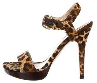 Stuart Weitzman Printed Ankle-Strap Sandals