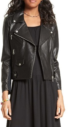Women's Rebecca Minkoff Wes Moto Leather & Neoprene Jacket $498 thestylecure.com